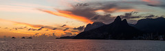 Panorama of Rio de Janeiro (Jos Eduardo Nucci) Tags: sunset sea sky mountains riodejaneiro grey golden colours smoke ipanema leblon joseduardonucci