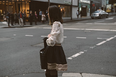 Chanel Dreaming (McLovin 2.0) Tags: street city girls urban beauty fashion shirt zeiss crossing bokeh sony sydney streetphotography style streetphoto cinematic puffy a7s