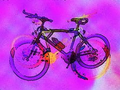 Bike Trip in Purple (Joe Vance aka oliver.odd - running in Safe Mode) Tags: trip light abstract color art geometric face bike lady happy eclipse cows space surreal cycle tripping fractured