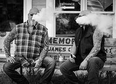Smoke signals (QC Doc) Tags: tattoo smoke streetphotography biker fridaythe13th portdover vaping
