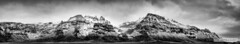Hvannadalshnkur Panoramic (John Fn Photography) Tags: sky blackandwhite bw panorama cloud white foothills mountain snow storm mountains cold monochrome rock clouds landscape grey mono volcano is iceland nikon outdoor pano hill gray peak panoramic cliffs east hills ridge summit snowing nordic peaks nikkor elevation alp 70200 mountainrange crag hvannadalshnukur rfajkull 70200mmf28 d810 hvannadalshnkur nikon70200mm republicoficeland niksoftware nikonfx silverefex silverefexpro orfajokull