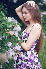 Olga (lucrecia lee) Tags: flowers portrait woman tree green girl beautiful beauty face leaves fashion forest bigeyes glamour pretty hand gorgeous longhair greenery graceful youngwoman glamorous fulllips