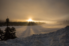 Sunrise over a frozen Reflection Lake. (gabe.purpur) Tags: morning lake snow fog sunrise frozen mountrainiernationalpark sunbeams frozenlake