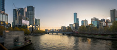 Melbourne Cityscape Panorama 2 (tommy kuo) Tags: city bridge blue sunset panorama orange reflection water skyline architecture buildings cityscape samsung australia melbourne victoria panoramic melbournecity nx1