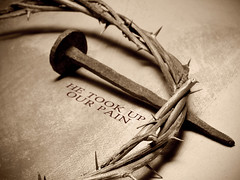 Jesus Christ crown of thorns and nail (tsfgodguy) Tags: brown sign horizontal closeup cutout way easter religious colorful catholic branch christ image symbol background faith religion jesus icon christian via holy textile nails fabric figure passion devotion week crown christianity tradition catholicism thorn iconic spikes crucifixion symbolic sacrifice golgotha calvary dolorosa ocher crucified crucis depiction martyrdom viacrucis