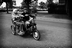 Tricycle (MikaelWiman) Tags: old woman man monochrome se sweden tricycle karlstad blackandwhitephotography vrmlandsln