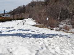 Quebec. Abandonned railway line near Montmonency Waterfalls. (denisbin) Tags: houses snow waterfall quebec gondolier saintlawrence bridhe iledorleans islandoforleans