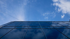 Reflection (Annenkov.Art) Tags: city blue sky cloud reflection building architecture office day view angle cloudy low tall