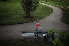 Waiting (Hellasman) Tags: park street red color bench photography candid