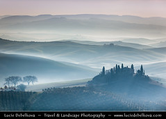 Italy - Tuscany - Val d'Orcia - Podere Belverde in the morning mist ( Lucie Debelkova / www.luciedebelkova.com) Tags: world trip travel light vacation italy mist holiday tourism beautiful misty sunrise wonderful dawn lights fantastic italian europe italia tour place dusk awesome sightseeing eu visit it location tourist journey tuscany stunning destination romantic sight traveling toscana visiting valdorcia exploration incredible touring breathtaking italie luciedebelkova wwwluciedebelkovacom luciedebelkovaphotography