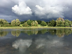 Calm before the storm (markshephard800) Tags: trees light sunlight lake storm water clouds reflections landscape eau wasser moody lac stormy paisley pomd remfrewshire barshawpark