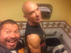 IMG_9384 (danimaniacs) Tags: man hot sexy male guy pee smile beard bathroom toilet hunk piss cincodemayo scruff