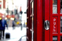 Seeing Red (No Great Hurry) Tags: life red blur london canon handle pull prime dof bokeh blurred depthoffield chrome stm westend gilbertscott telephonebox 550d robinbarr nogreathurry robinmauricebarr