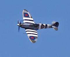 BoB Memorial Flight Spitfire (Halliwell_Michael ## Offline mostlyl ##) Tags: blue sky aircraft historic spitfire westyorkshire brighouse 2016 flypast battleofbritainmemorialflight nikond40x brighouse1940sweekend brighouse1940swe