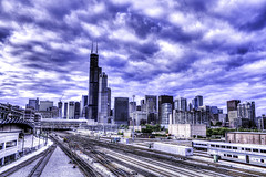 Skyline Chicago May 14 2016 (Artemortifica) Tags: chicago highway trains hdr louds metrarailsystem