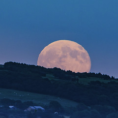 Solstice Moon over Billinge Hill (ianandbarbara.bonnell@btinternet.com) Tags: uk england moon night landscape nightscape lancashire solstice moonrise sthelens wigan merseyside billinge
