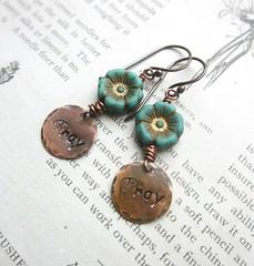 Pray Earrings (Di's jewellery) Tags: flower glass beads czech turquoise pray charm copper earrings