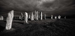 Callanish Stones.. late light (Malajusted1) Tags: callanish stones standing isle lewis neolithic scotland highlands islands shadow bw moody ancient island hebrides outer