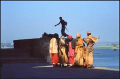 Ganges, Ghats, and Gurus (ioensis) Tags: river scene 1984 february hinduism ganges ghat gurus jdl ioensis india1951b©johnlangholz2016