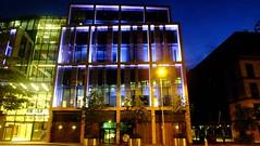 changing colours 01 (byronv2) Tags: dawn night nuit nacht edinburgh edimbourg scotland colour blue edinburghbynight architecture building modernarchitecture contemporaryarchitecture financialdistrict office