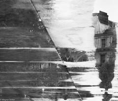 pavement reflections (Wayne Stiller) Tags: abstract man building london wet rain reflections pavement running slab crackinpaving
