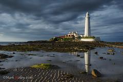 Lighthouse (markmolloy) Tags: sea england sky lighthouse reflection sand explore stmarys