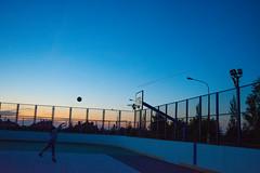 Evening Warm-up (alexwinger) Tags: blue sky girl basketball sport sex ball court evening nikon air nike clear