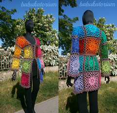 Crochet Cardigan - Lacy Granny Square With Flower Center (babukatorium) Tags: arcobaleno art babukatorium babypink blue bohemian brown burgundy cardigan circle coat color colorful crochet croch darkblue emeraldgreen fashion fattoamano flower ganchillo grannysquares green haken handmade hippie horgolt hkeln icord knit knitted lace moda mosaic multicolor net octagon oneofakind orange pastel patchwork pink psychedelic purple rainbow recycled red retro royalblue style sweater teal tii turquoise uncinetto vintage violet whimsical wool yellow