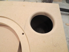 Port hole trimmed and rounded (burritobrian) Tags: diy speaker boombox overnightsensations speakerbuild sd215a88
