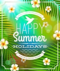 Beautiful summer vector background (vectorbackground) Tags: ocean blue cloud green beach nature beauty horizontal relax landscape island bay coast leaf sand gate heaven paradise branch background scene lagoon calm palm resort deck exotic journey rest coastline recreation rippled idyllic