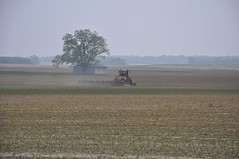 Farmer at Work (Plummerhill) Tags: tractor tree field haze corn farm