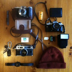 Packing for the day (A Simple Tom) Tags: camera film zeiss fuji kodak gear olympus om10 gas electro analogue therocks 35 ikon ilford yashica camerabag nettar uploaded:by=flickrmobile flickriosapp:filter=nofilter