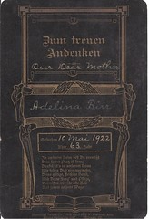 Memorial Card In German (ilgunmkr) Tags: chicago death memorial funeral 1922 memorialcard cabinetcardsjs adelinabirr
