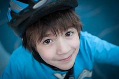 Andrew on a bike ride (Northwest dad) Tags: blue cute smile bike 35mm nikon ride helmet andrew f18 d90