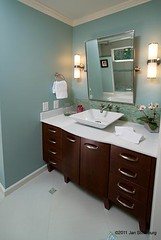 his vanity (SimoneFeldmanDesigns,LLC.) Tags: lighting glass stone tile bathroom shower doors floor mosaic vanity mirrors storage master granite suite caeser cabinets hardwood