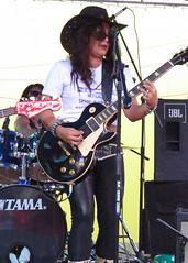 HEATHER LEATHER (Flagman00) Tags: hot leather rock metal female sanantonio concert all fiesta heather live tx band rocker week chicks hispanic latina heavy milf 2013