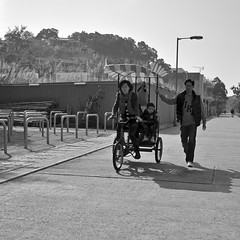 Love [] (KongWah Tham) Tags: street family black love walking photography hongkong cycling kid father mother picture   trishaw changzhou bwphoto               kongwah pandagraphy
