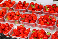 Fresh strawberries (Dmitri Naumov) Tags: street uk red england food shop fruit store healthy strawberry berry basket market sweet box sale farm seasonal group harvest bio ticket fresh container delicious crop produce organic agriculture sell homegrown ripe