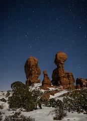 Towers of Eden (KRHphotos) Tags: nightphotography snow nature stars landscape utah unitedstates gardenofeden moab archesnationalpark