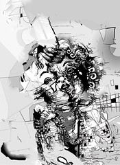 graphic drawing (AislingWilsonArtist) Tags: blackandwhite stilllife illustration photoshop doll drawing fineart inkdrawing monochrone abstracthumanform monotoneillustration