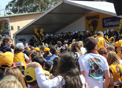 players on stage Glenferrie Oval 2013 Hawks Premiers_9573