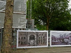 Building activities & plane trees on the grounds of Artis Zoo, along the Plantage-Middenlaan; photo Amsterdam city - Summer 2013; urban  photography Fons Heijnsbroek (Amsterdam free photos & pictures of the Dutch city) Tags: pictures old city tree green amsterdam plane fence zoo photo artis