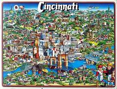 Cincinnati, Ohio fun map (1982) (matthunterross) Tags: ohio illustration map cincinnati