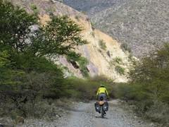 Descending to the bridge over the Rio Pampas
