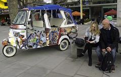 Southbank - Couple and Rickshaw (stevedexteruk) Tags: london couple candid nine southbank 99 rickshaw ninety 2013
