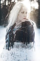 fractures in your frost fingers (Phixo) Tags: winter snow cold nature girl forest woods exposure naturallight double multipleexposure blonde nordic celtic viking pagan vision:outdoor=0903
