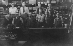 Staff at Cappers, Sydney Smith third from left in front row (maitland.city library) Tags: hardware commerce furniture business shops newsouthwales stores highstreet maitland petersmith sydneysmith capper cappers