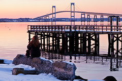 Winter in Newport (Ron Stella) Tags: sunset reflection water reflections harbor dusk rhodeisland newport getty gettyimages newportbridge claibornepellbridge