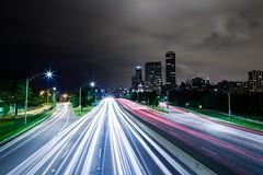 On the Footbridge (Bryan Nabong) Tags: longexposure chicago night illinois highway unitedstates time headlights lakeshoredrive photowalk northamerica lighttrails route41 googleplussecondanniversary