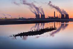 Industrial dawn (tolle13) Tags: longexposure seascape clouds sunrise reflections landscape industrial 70200mm coolingtowers fiddlersferry rivermersey wiggisland canon5dmk3 jedpearson tolle13